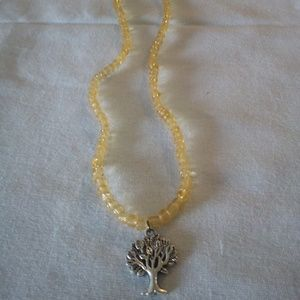 Handcrafted Seed Bead Necklace with Tree Charm